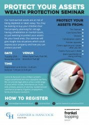 Upcoming seminar on protecting your wealth from the taxman, divorce, care home fees and debt